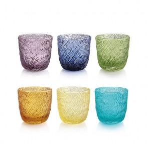 Set van 6 gekleurde waterglazen