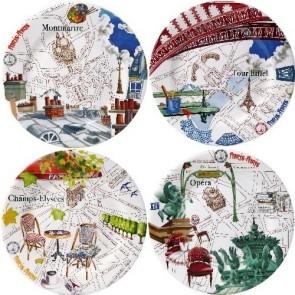 Set van 4 gebakbordjes assorti