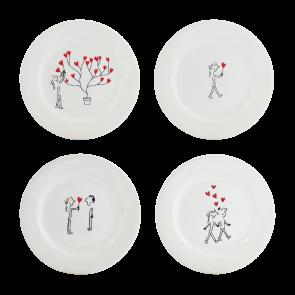 Set van 4 dessert-/ontbijtborden