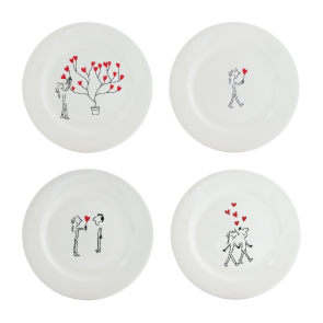 Set van 4 gebakbordjes